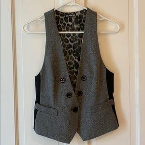 Express black white gray vest suit jacket skirt 6